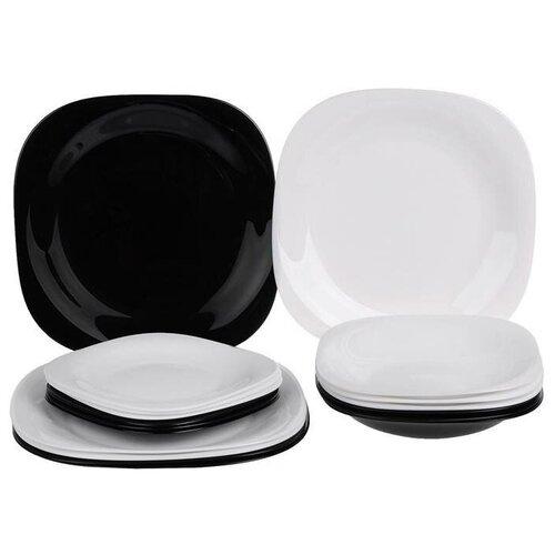 Столовый сервиз Luminarc Carine N1489, 6 персон, 18 предм., черно-белый столовый сервиз luminarc carine beatitude n2250 6 персон белый