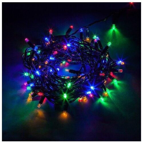 Гирлянда Feron Нить CL33 1000 см (статичная), 100 ламп, разноцветные диоды/черный провод