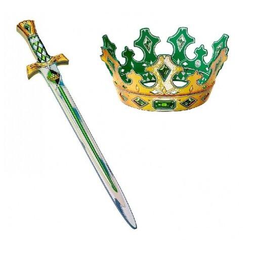 Корона и меч короля с зеленой отделкой