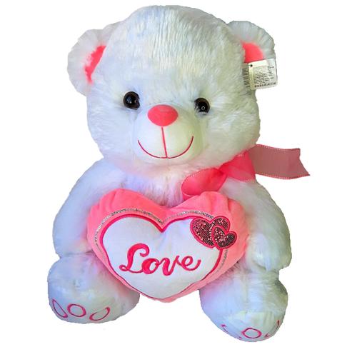 Мягкая игрушка Медведь с сердцем и бантом, белый, 40см