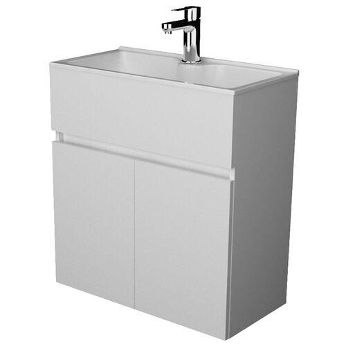 Фото - Тумба для ванной комнаты с раковиной 1Marka Mira, ШхГхВ: 60х30х65.2 см, цвет: белый глянец тумба для ванной комнаты с раковиной am pm like напольная шхгхв 80х45х85 см цвет белый глянец
