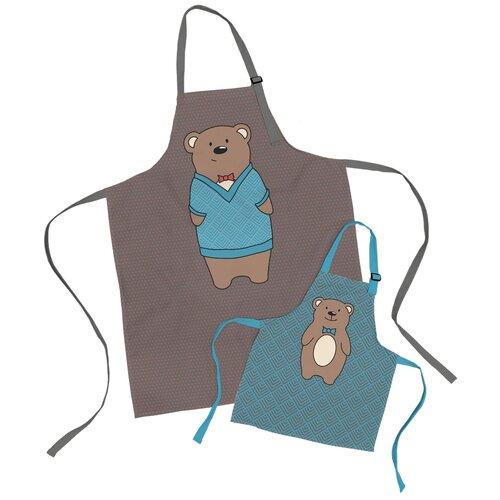 Комплект фартуки парные семья Медведь и сын медвежонок sfer.tex 1766732