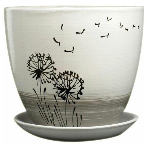 Горшок Художественная керамика Одуванчик с подставкой белый/серый/черный