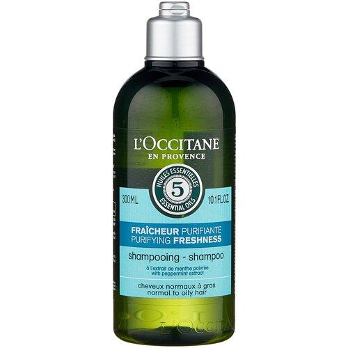 Купить L'Occitane en Provence шампунь Аромакология Живительная свежесть для нормальных и жирных волос, 300 мл