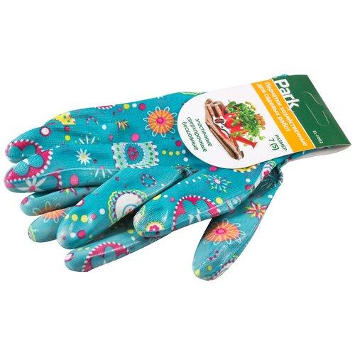 Перчатки Park хозяйственные для садовых работ EL-F002, 1 пара, размер S, цвет голубой