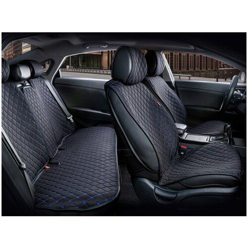 Комплект накидок на автомобильные сиденья CarFashion CROWN черный/черный/синий