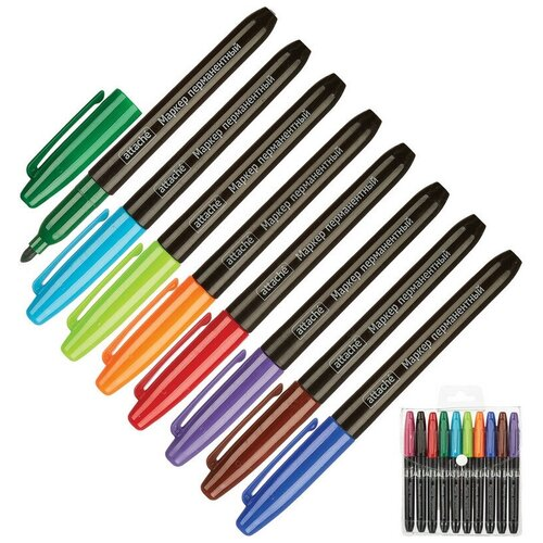Купить Набор маркеров перманентных ATTACHE 1, 5-3мм. набор 10 цв 2 штуки, Маркеры
