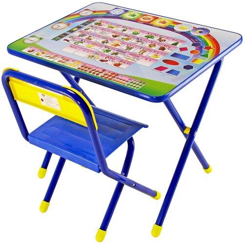 Купить Комплект ДЭМИ стол + стул №1 Алфавит 60x45 см синий, Парты и столы