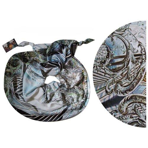 Двойной шарф-долька Оланж Ассорти серия Апрель с узелками dolka-шелк-z-112-174