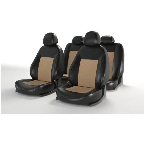 Универсальные чехлы на автомобильные сиденья CarFashion ATOM LEATHER черный/бежевый/бежевый