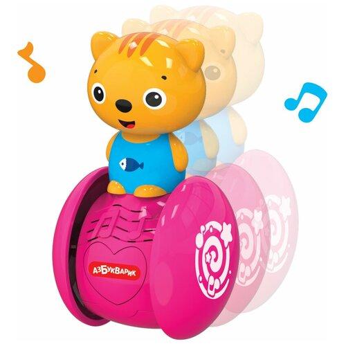 Неваляшка Азбукварик Музыкальные покатушки Котёнок 10.5 см розовый/оранжевый