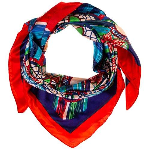 Шелковый платок на шею/Платок шелковый на голову/женский/Шейный шелковый платок/стильный/модный /21kdgPL903002-2vr синий,розовый/Vittorio Richi/80% шелк,20% полиэстер/90x90
