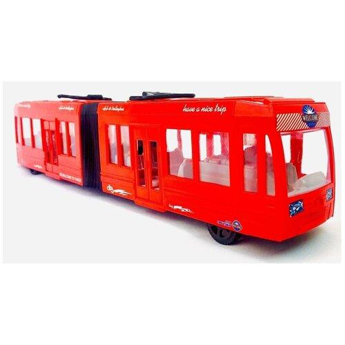 Купить Большой трамвай двухсоставный инерционный, KX905-10, 47х10х7 см., Play Smart, Машинки и техника