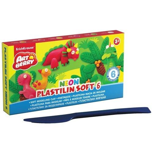Купить Пластилин мягкий Artberry Neon , 6 цветов, 120 грамм, со стеком, ErichKrause, Пластилин и масса для лепки