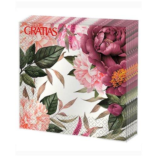 Салфетки бумажные 3сл 33см 20л Gratias Цветущие пионы