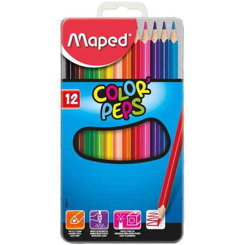 Фото - Maped Цветные карандаши Color Peps 12 цветов, металлическая коробка (832014) карандаши набор 18цв аквар maped color peps aqua кисть