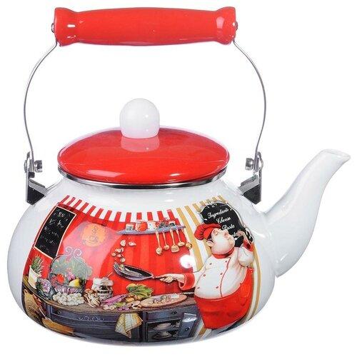 Vetta Чайник Повар 894442 2.5 л, белый/красный чайник vetta глянец 847069 2 7 л