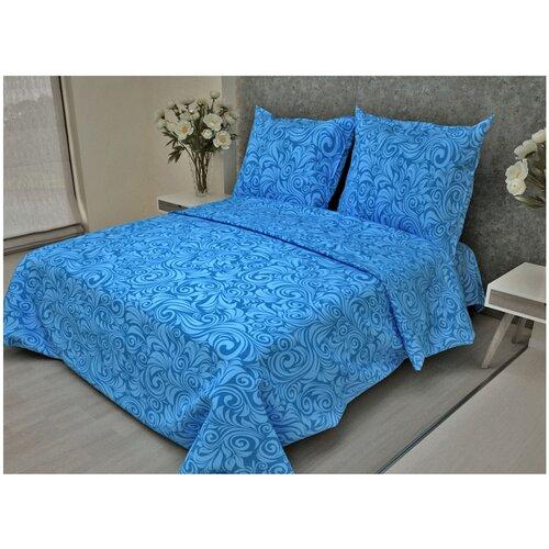 Постельное белье 2-спальное Fiorelly Узоры голубой 068-3 бязь, 70 х 70 см