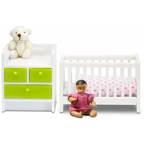 Lundby Кровать с пеленальным комодом Смоланд (LB_60209900) белый / зеленый кукольные домики и мебель lundby кукольная мебель кровать с пеленальным комодом