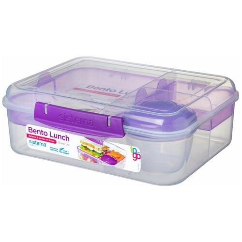 Фото - Sistema Контейнер двухуровневый с разделителями и баночкой для соуса TO GO 21690, 18x22 см, фиолетовый контейнер двухуровневый to go 1 4 л 14 5х15х9 6 см 21731 sistema