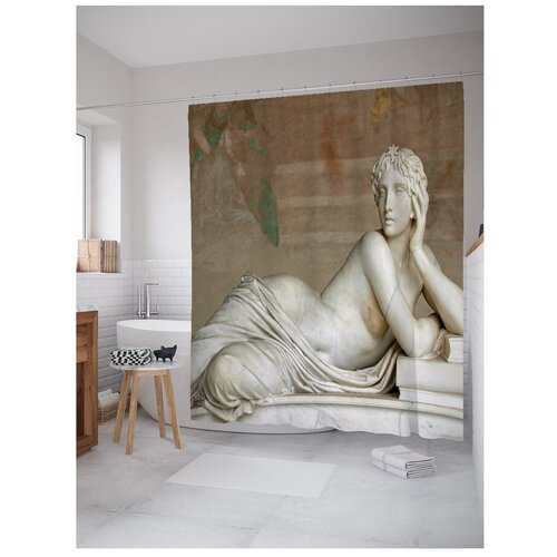 Штора для ванной JoyArty Статуя женщины лежачая 180х200 бежевый/серый