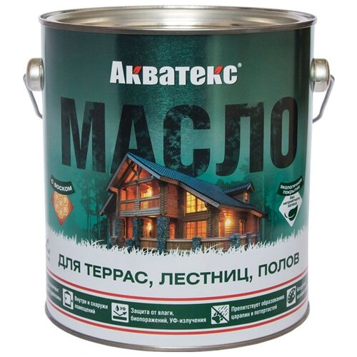 Фото - Масло АКВАТЕКС Масло для террас, лестниц и полов, прозрачный, 2.5 л масло dr schutz h2oil прозрачный 0 75 л