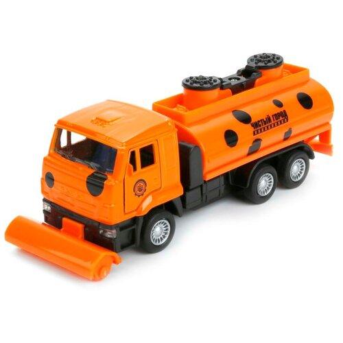 Уборочный грузовик ТЕХНОПАРК КамАЗ уборочный (SB-16-74-B2-WB), 14 см, оранжевый