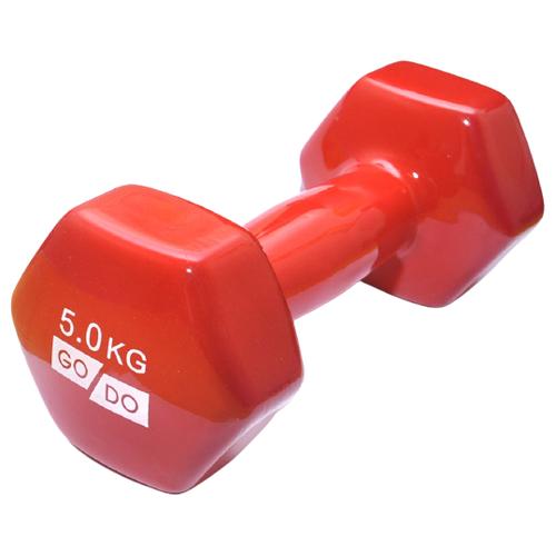 Гантель GO DO в виниловой оболочке. Вес 5 кг. (Красный) гантель виниловая 1 кг go do 1 кг красный