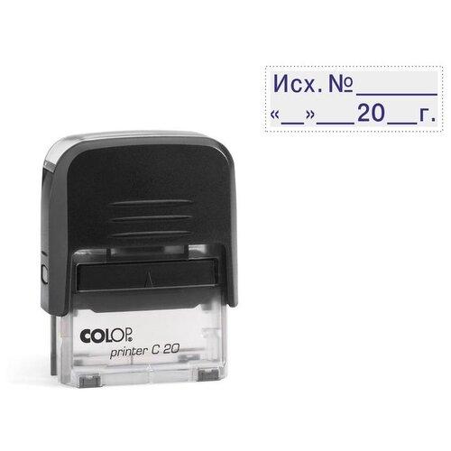 Фото - Штамп COLOP Printer C20 3.4 Исх. № и дата, прямоугольный синий черный штамп colop printer с20 прямоугольный копия верна синий