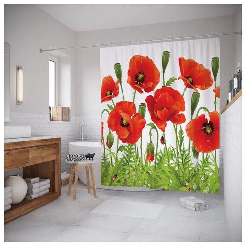 Фото - Штора для ванной JoyArty Ароматные маки 180x200 зеленый/красный/черный штора для ванной iddis 680p18ri11 180x200 зеленый черный