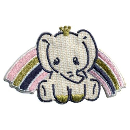 Термоаппликация HKM Textil Слоненок и розовая радуга 9.5х5.5 см бежевый/розовый салфетка protec textil lino 30 43 см бежевый