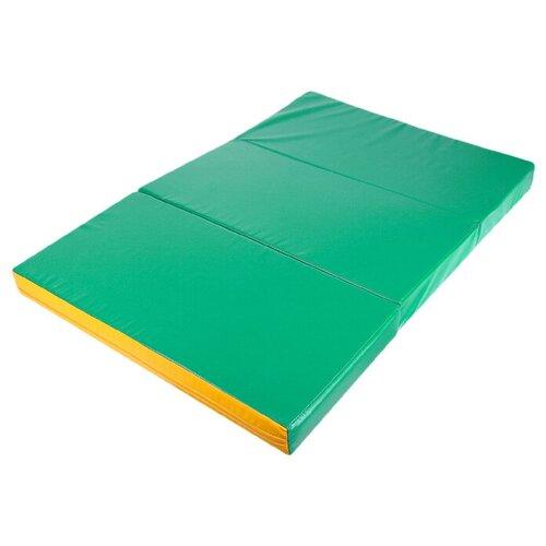 Мат 100 x 150 x 10 см, 2 сложения, винилискожа, цвет зелёный/жёлтый