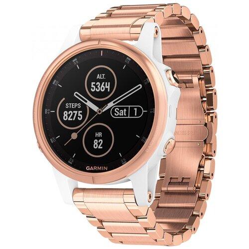 Умные часы Garmin Fenix 5S Plus Sapphire c металлическим ремешком, розовое золото