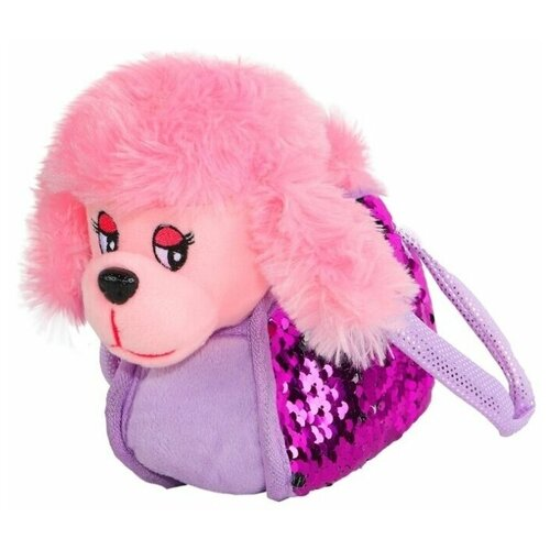 Мягкая игрушка Пушистые друзья Собачка в розовой сумочке с пайетками 19 см