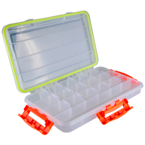Коробка для приманок для рыбалки HELIOS HS-ZY-049 36х22х5 см прозрачный/оранжевый