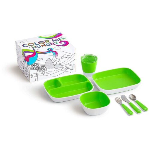 Фото - Munchkin набор посуды 3 миски, стаканчик, столовые приборы зеленый набор посуды splash 7 предметов 3 миски стаканчик столовые приборы ц фиолетовый
