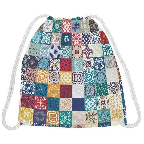 JoyArty Рюкзак-мешок Плитка с цветочными узорами bpa_17019, желтый/голубой/красный joyarty рюкзак мешок радужные окошки bpa 207087 голубой