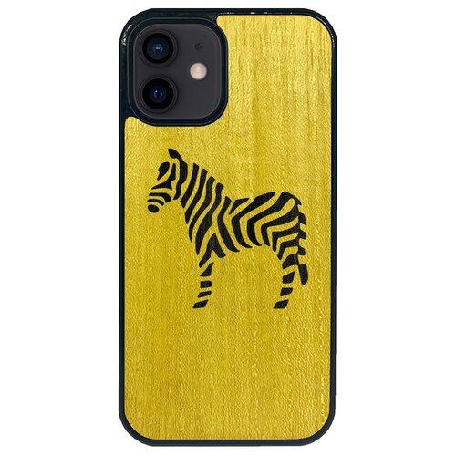 Чехол Timber&Cases для Apple iPhone 12 Mini TPU WILD collection - Зебра (Желтый Кото - Эвкалипт)