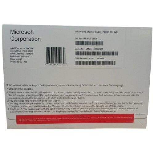 Microsoft Windows 10 Professional 64-bit для сборщиков систем, лицензия и носитель, английский, устройств: 1, кол-во лицензий: 1, срок действия: бессрочная, DVD