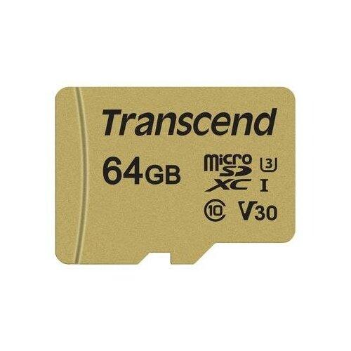Фото - Карта памяти 64 ГБ micro SDXC Transcend TS64GUSD500S Class 10 UHS-I карта памяти sdhc 32gb transcend class10 uhs i