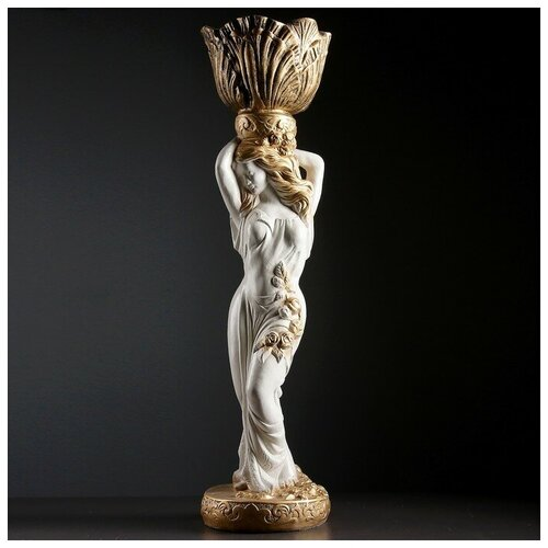 Хорошие сувениры Фигура Девушка стоя кашпо на голове средняя белый-бронза 80см фигура девушка сидя кашпо на плече бронза 58см 302969