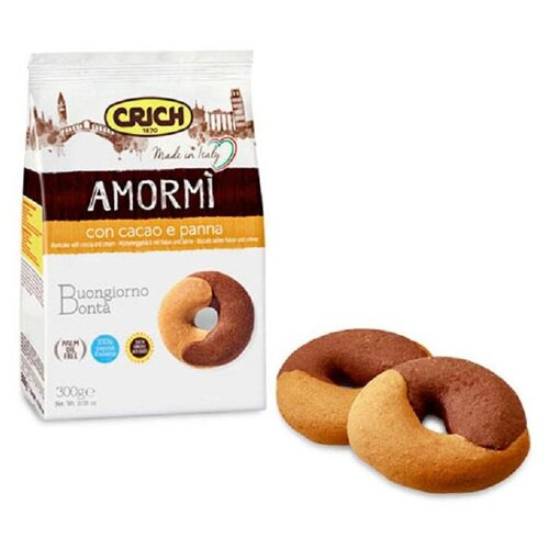 Печенье Crich Amor Mi Biscuits песочное с какао и сливками, 300г