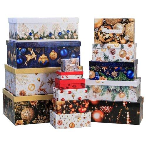 Фото - Набор подарочных коробок Дарите счастье Набор подарочных коробок «С Новым годом», 15 шт. многоцветный набор подарочных коробок дарите счастье универсальный 10 шт бежевый белый черный