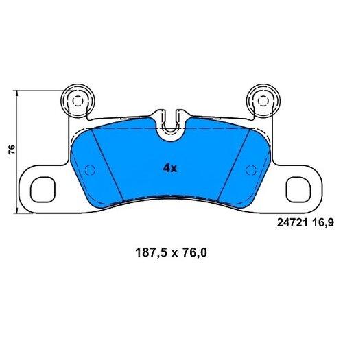 Дисковые тормозные колодки задние ATE 13.0460-4872.2 для Porsche Cayenne, Volkswagen Touareg (4 шт.)
