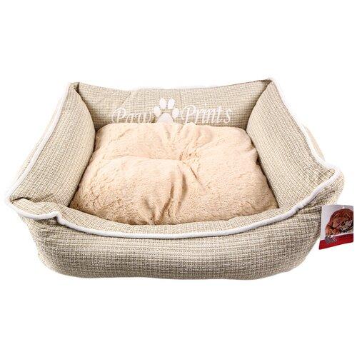 Лежак с бортом 84х66х19 см, съемная меховая подушка, бежевый