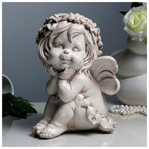Фигура Фея сидя 21х21х28см состаренный фигура ангел карапуз сидя состаренный 19х22х24см 1659374