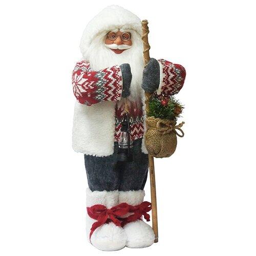 Фигурка Maxitoys Дед Мороз с посохом в свитере 61 см белый/серый/красный фигурка maxitoys дед мороз в свитере со снежинкой и лыжами 32 см белый