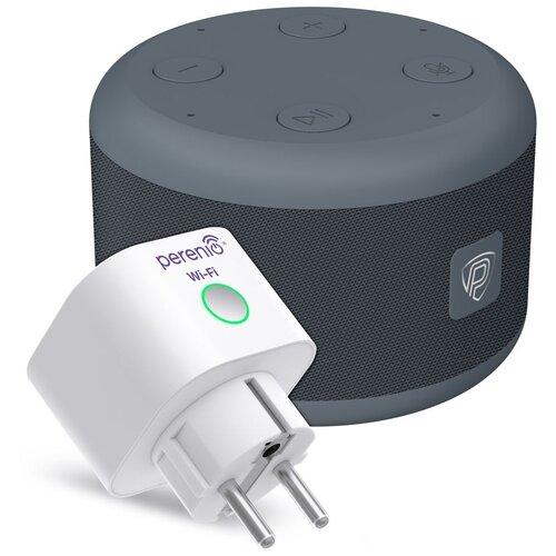 Умная колонка Prestigio Smartvoice + интеллектуальная розетка Power Link белый/серый