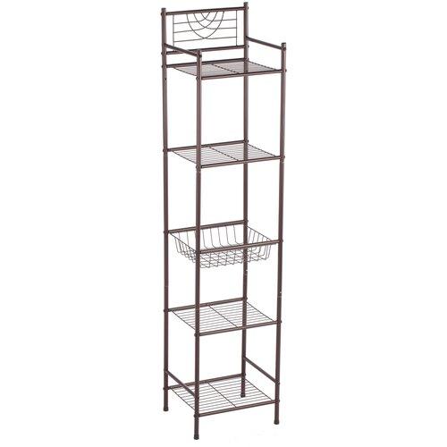 UniStor VERONA Стойка-стеллаж для кухни, ванной комнаты и гостиной 4 полки и корзинкой