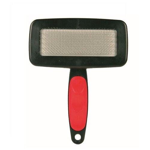 Фото - Щётка-пуходерка мягкая 16 х 11,5 см с пластиковой ручкой + расчёска щётка пуходерка trixie 2358 мягкая односторонняя